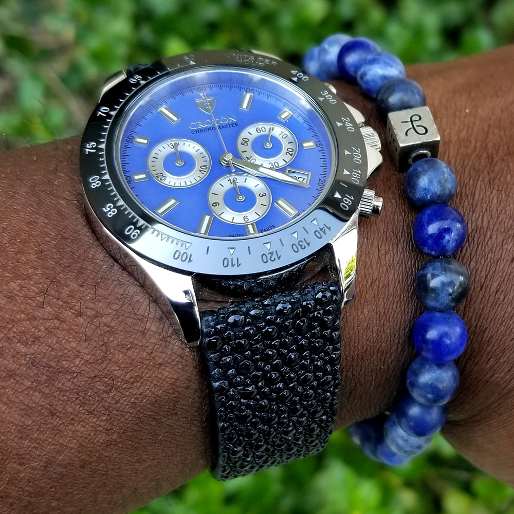 WOTD wrist-shot of the Croton, Chronomaster, 925 Chronograph.  Paired with a Sodalite stone, beaded bracelet, designed by Aurum Brothers.