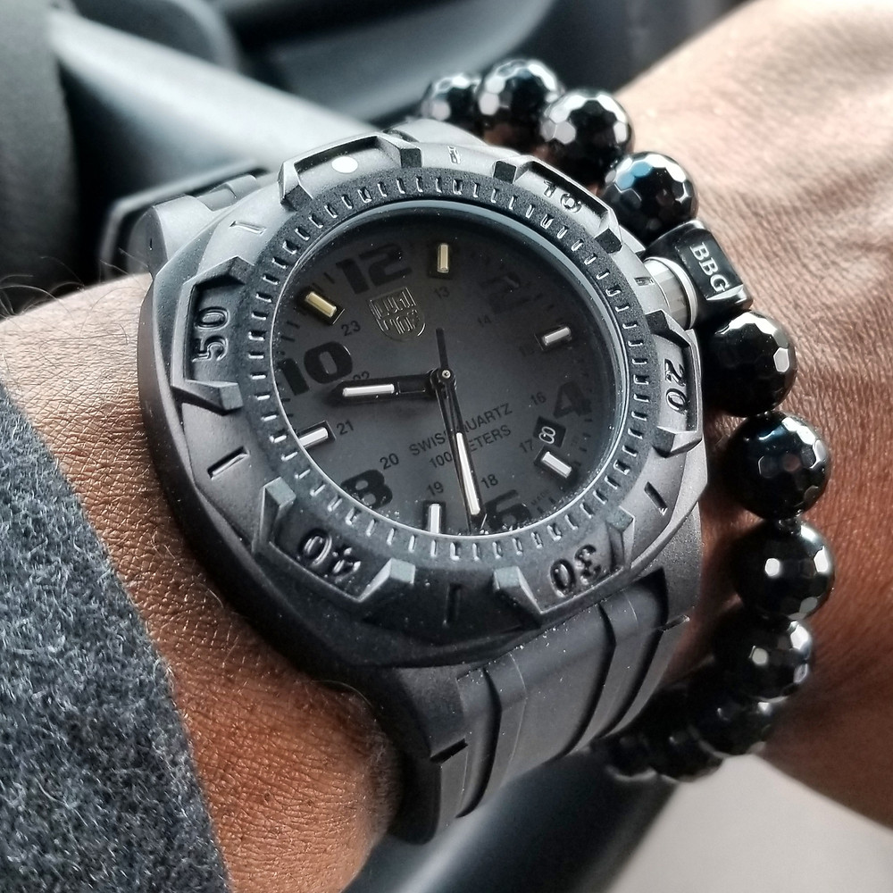 WOTD wrist-shot of the Luminox, Sentry 0201.  Paired with a custom, beaded bracelet, designed by Beads By Gonzo.