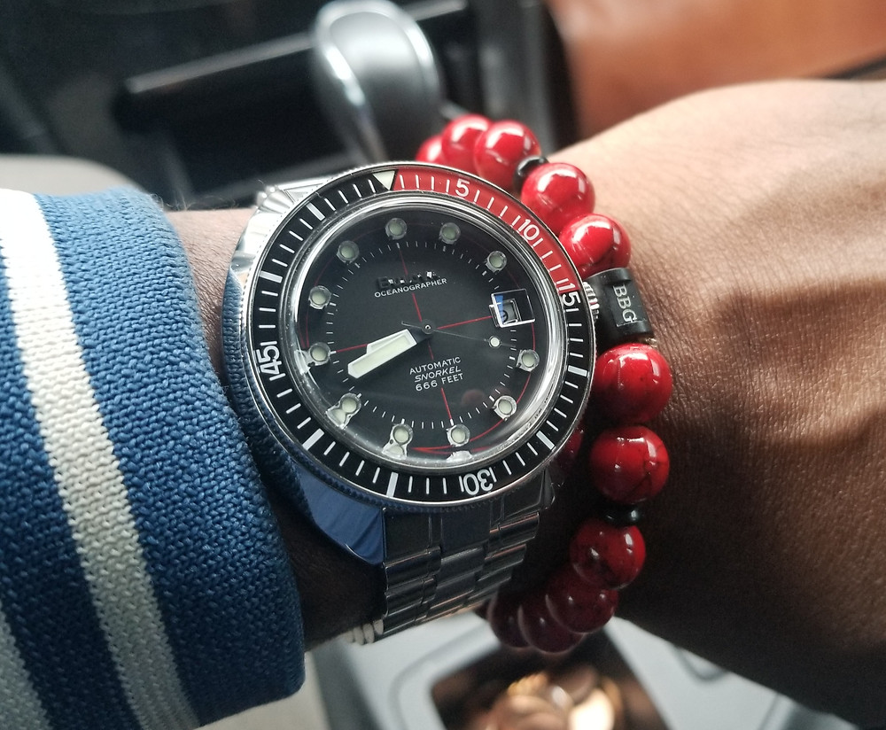 WOTD wrist-shot of the Bulova, Oceanographer, Snorkel, Devil Diver 666, paired with a custom beaded bracelet  designed by Beads By Gonzo.
