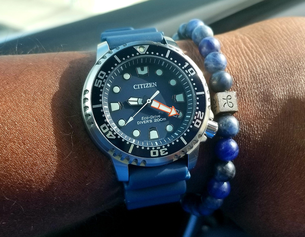 WOTD Wrist-Shot showing the Citizen, Eco-Drive, Promaster, accompanied by an Aurum Brothers, Sodalite, beaded bracelet.