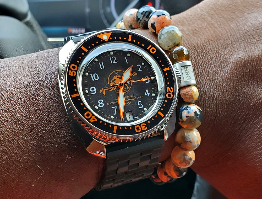 WOTD wrist-shot of the Boctok, Amphibian - custom mod, paired with custom, color-matched beaded bracelet, crafted by Beads By Gonzo.