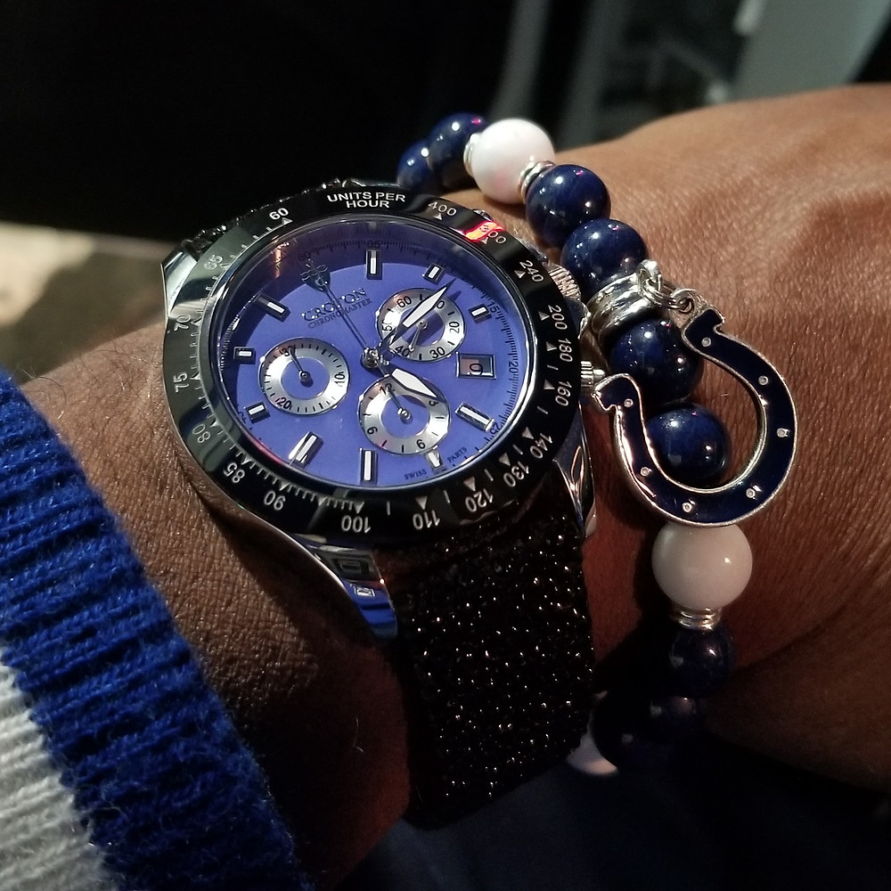 WOTD wrist-shot of the Croton, Chronomaster, 925 Chronograph.  Paired with a custom bracelet, designed by Beads By Gonzo.