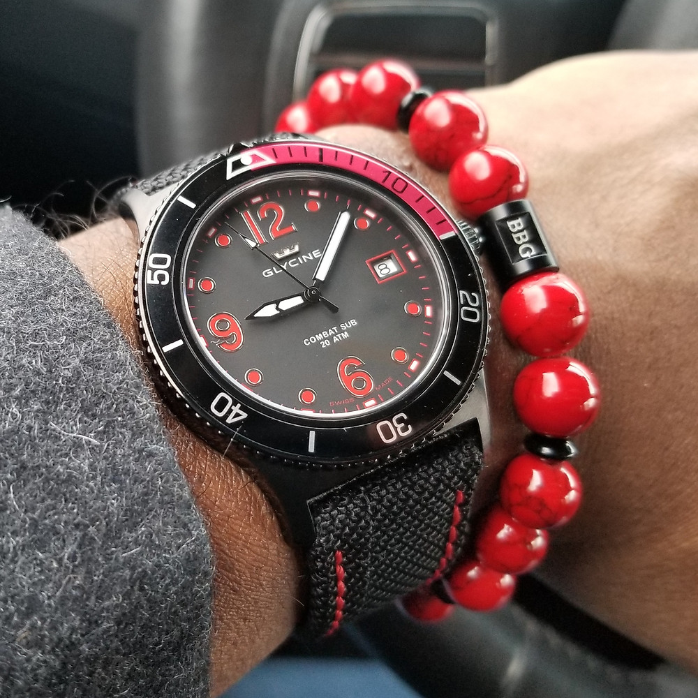 WOTD wrist-shot of the Glycine, Combat Sub, paired with a custom, beaded bracelet, designed by Beads By Gonzo.