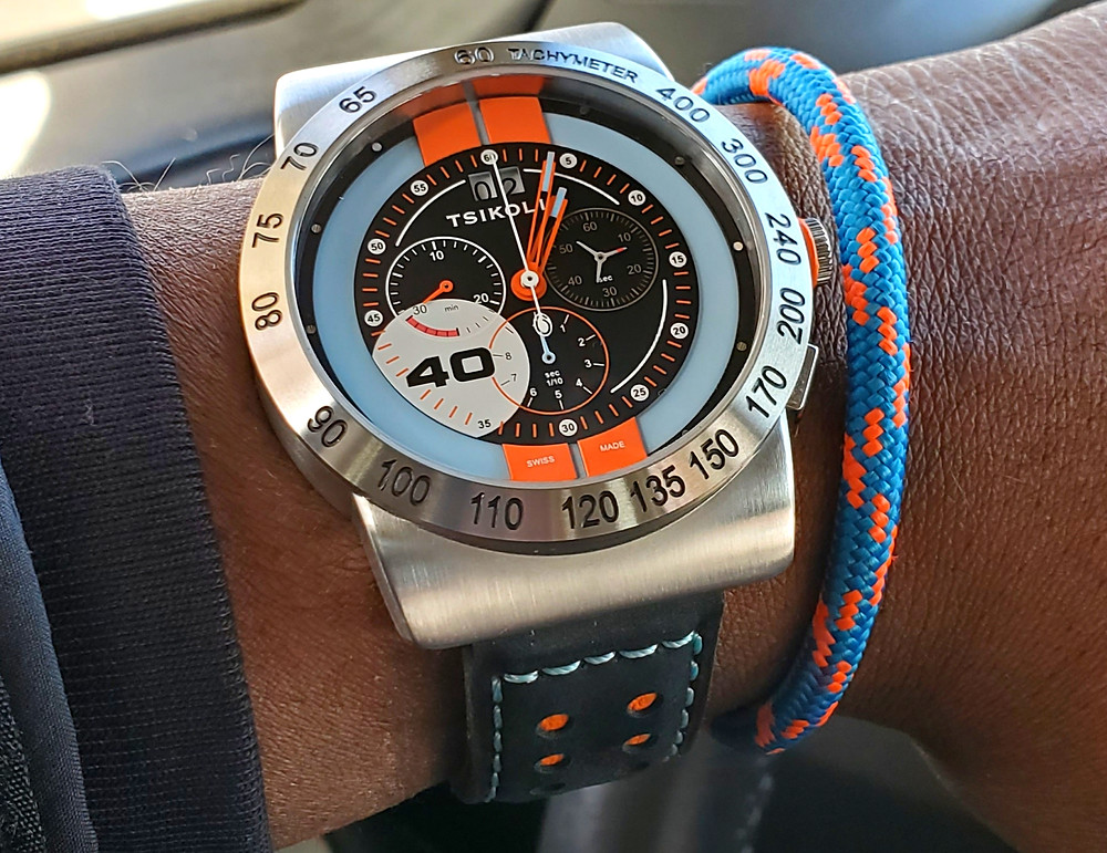 WOTD wrist-shot of the Tsikolia, GT40 Racing Chronograph, Limited Edition.  Paired with a marine-grade, rope bracelet, designed by Roplet UK.