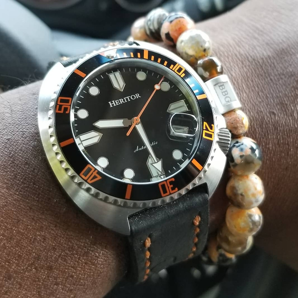 WOTD wrist-shot of the Heritor, Morrison Automatic.  Paired with a custom-designed, beaded bracelet, crafted by Beads By Gonzo.
