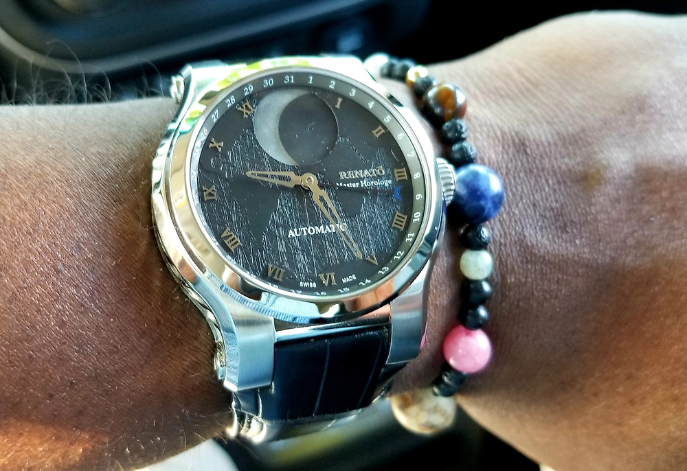 Renato, Master Horologe Moonphase, By Martin Braun.  Paired with 9-planets, celestial bracelet.