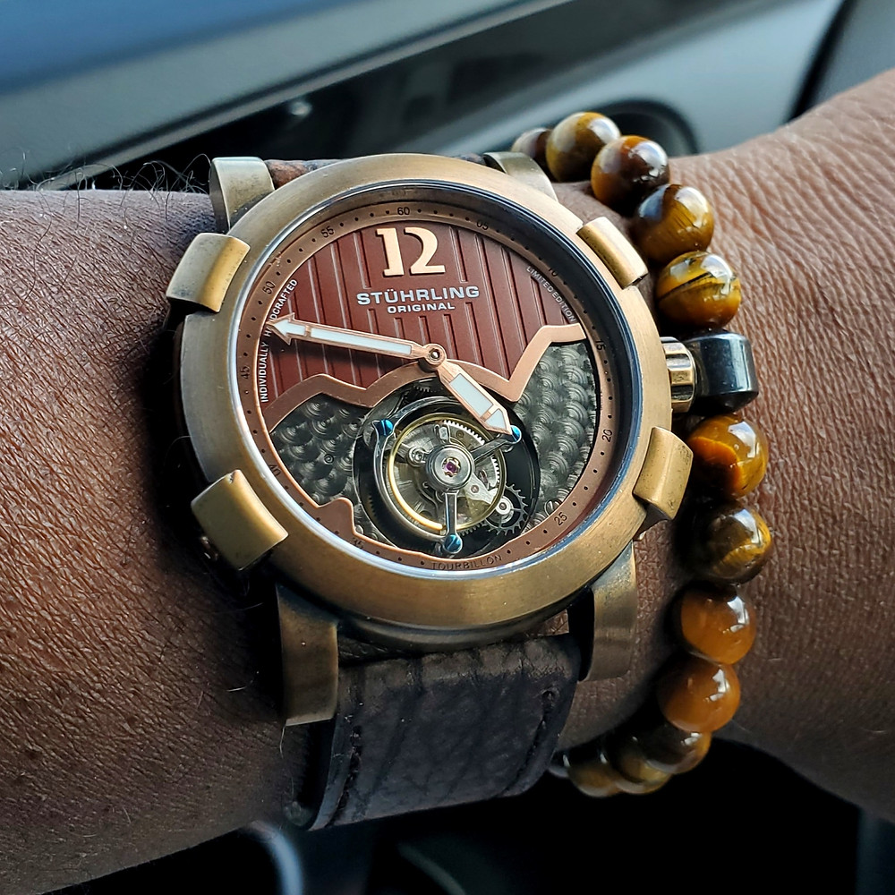 WOTD wrist-shot of the Stuhrling Original, Devilray Tourbillon - Bronze.  Paired with a beaded bracelet, in color SoHo, designed by Dorsal Bracelet Co.