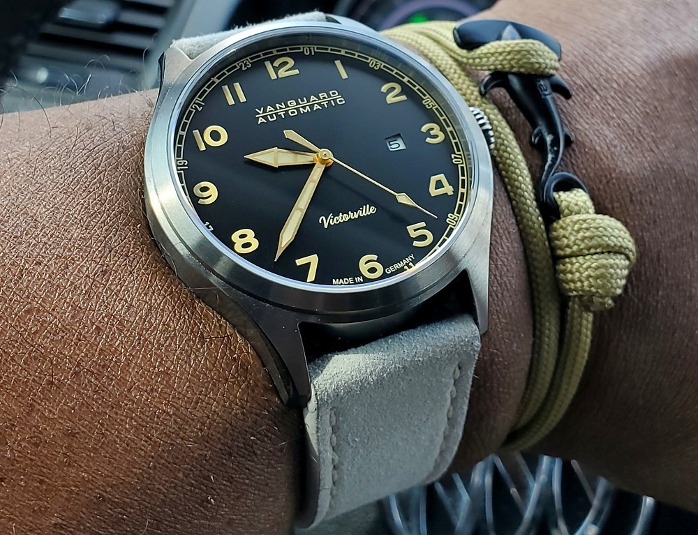 WOTD wrist-shot of the Vanguard, Victorville Pilot.  Paired with a Hammerhead, rope bracelet, designed by Dorsal Bracelet Company.