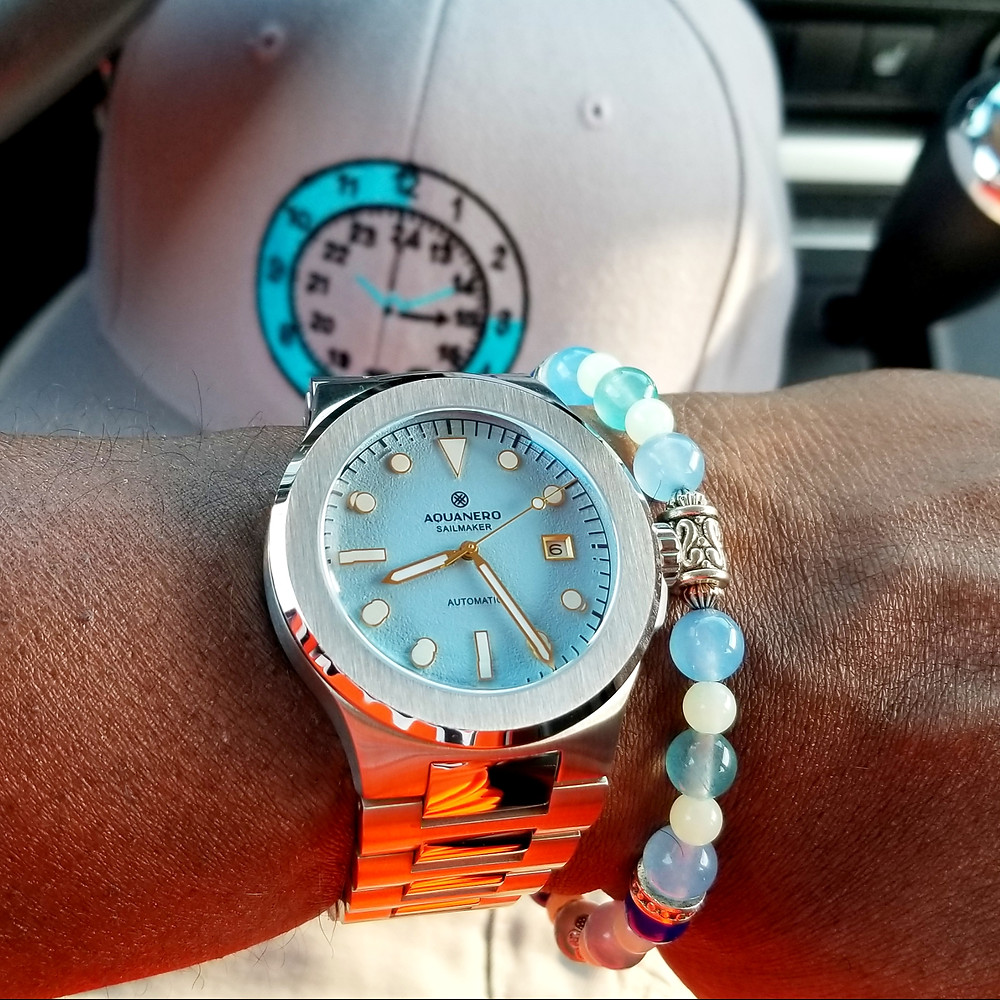 WOTD wrist-shot of the Aquanero, Sailmaker.  Paired with a custom, color-matched, beaded bracelet.