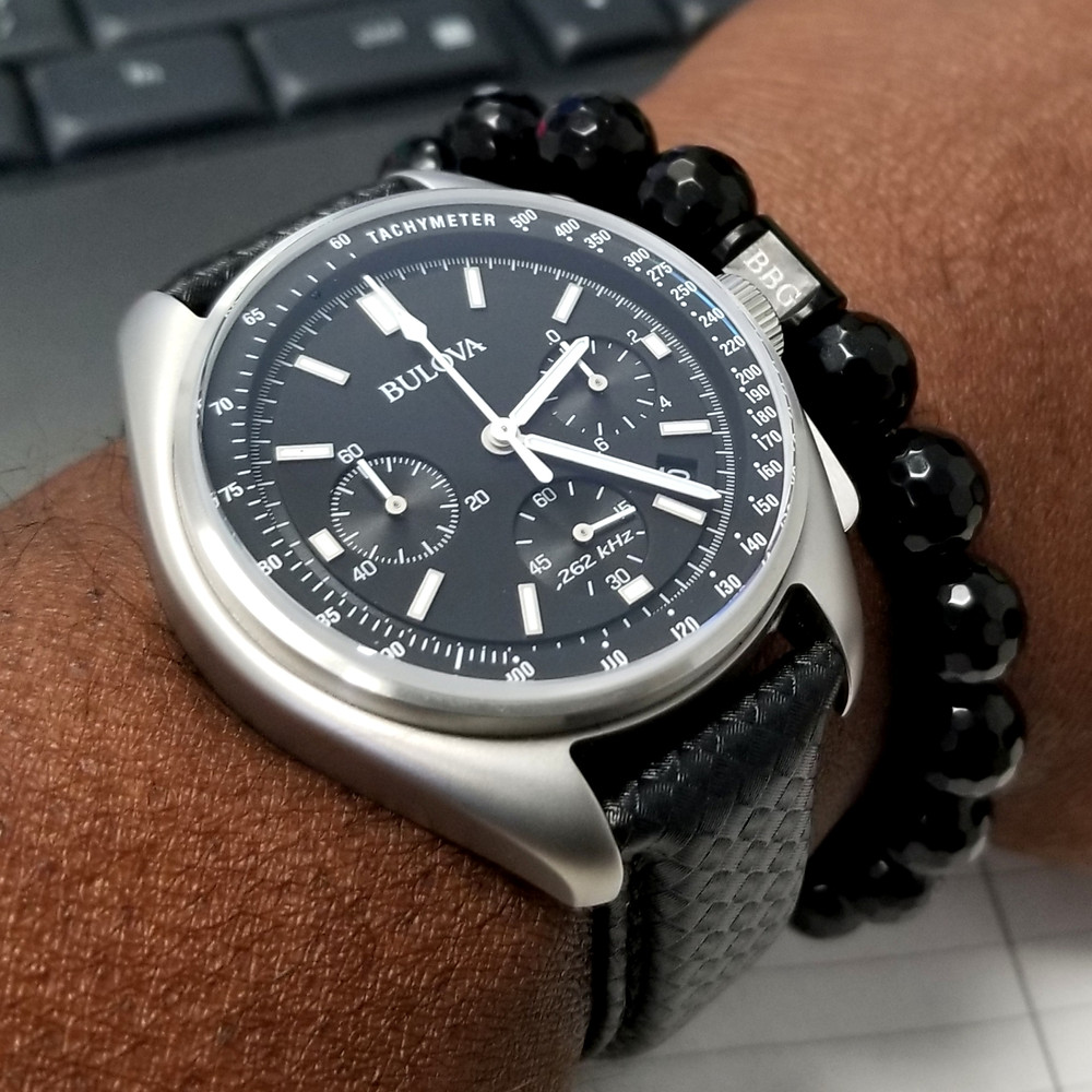 WOTD wrist-shot of the Bulova, Lunar Pilot, Special Edition.  Paired with a custom-crafted bracelet, created by Beads By Gonzo.