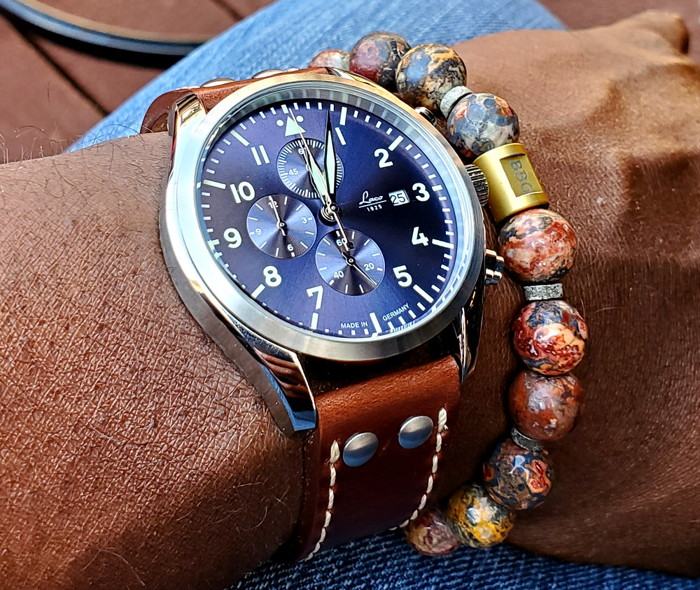WOTD wrist-shot of the Laco, Atlantic, Pilot Chronograph.  Paired with a custom-crafted bracelet, designed by Beads By Gonzo.