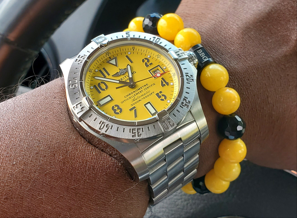 WOTD wrist-shot of the Breitling, Avenger - Seawolf.  Paired custom-crafted bracelet, designed by Beads By Gonzo.