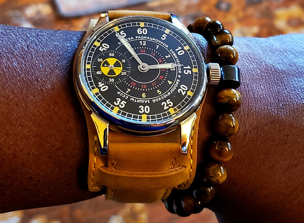 Circa 1980's, Molnija, Chemical Warrior, paired with a beaded bracelet, crafted by Dorsal Bracelet Co., in color SoHo.