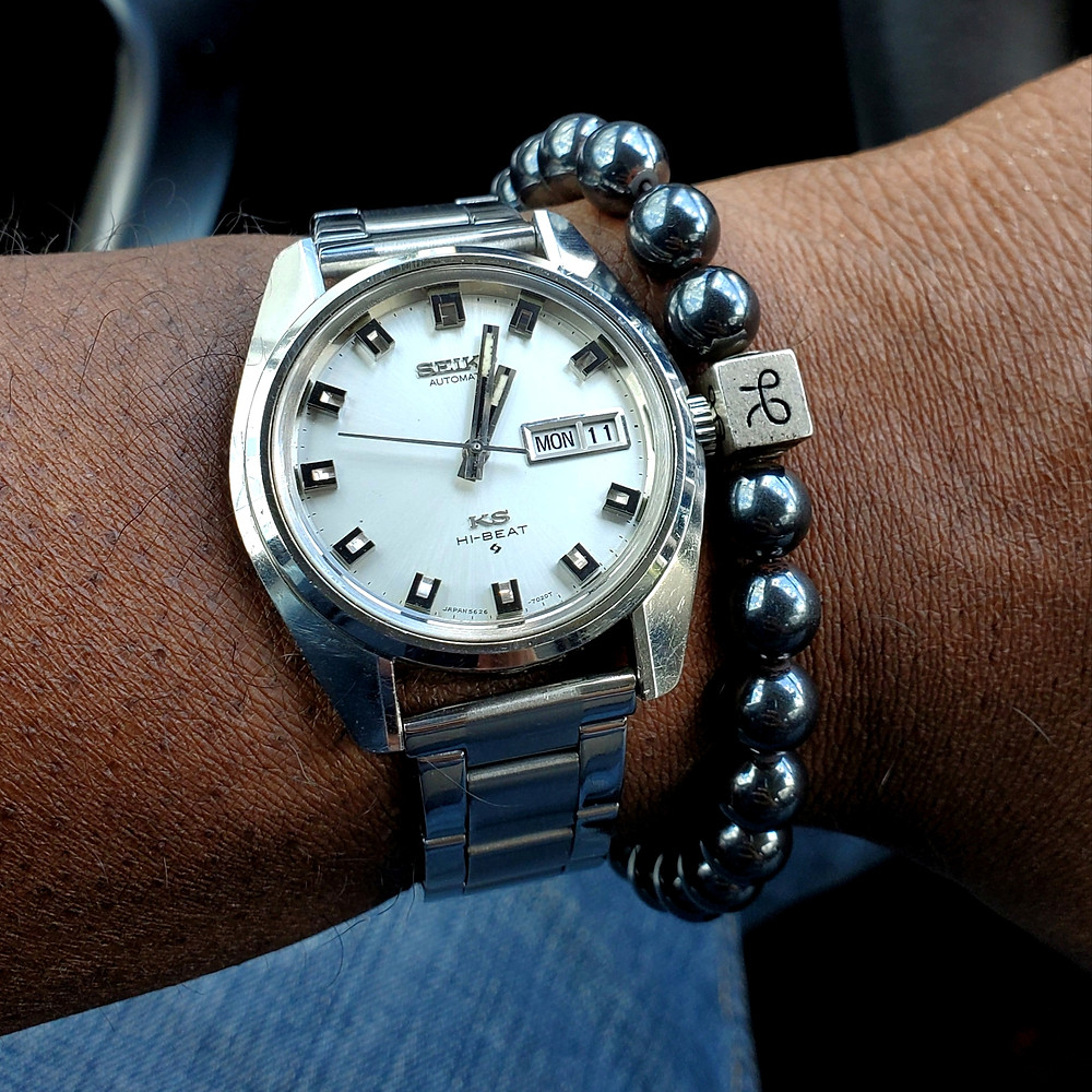 WOTD wrist-shot of the 1970, vintage, King Seiko.  Paired with a minimalist, Hematite Stone bracelet, designed by Aurum Brothers.