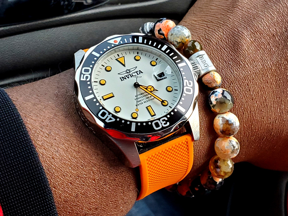 """WOTD wrist-shot of the Invicta, """"Creamsicle"""" Grand Diver.  Paired custom-crafted bracelet, designed by Beads By Gonzo."""