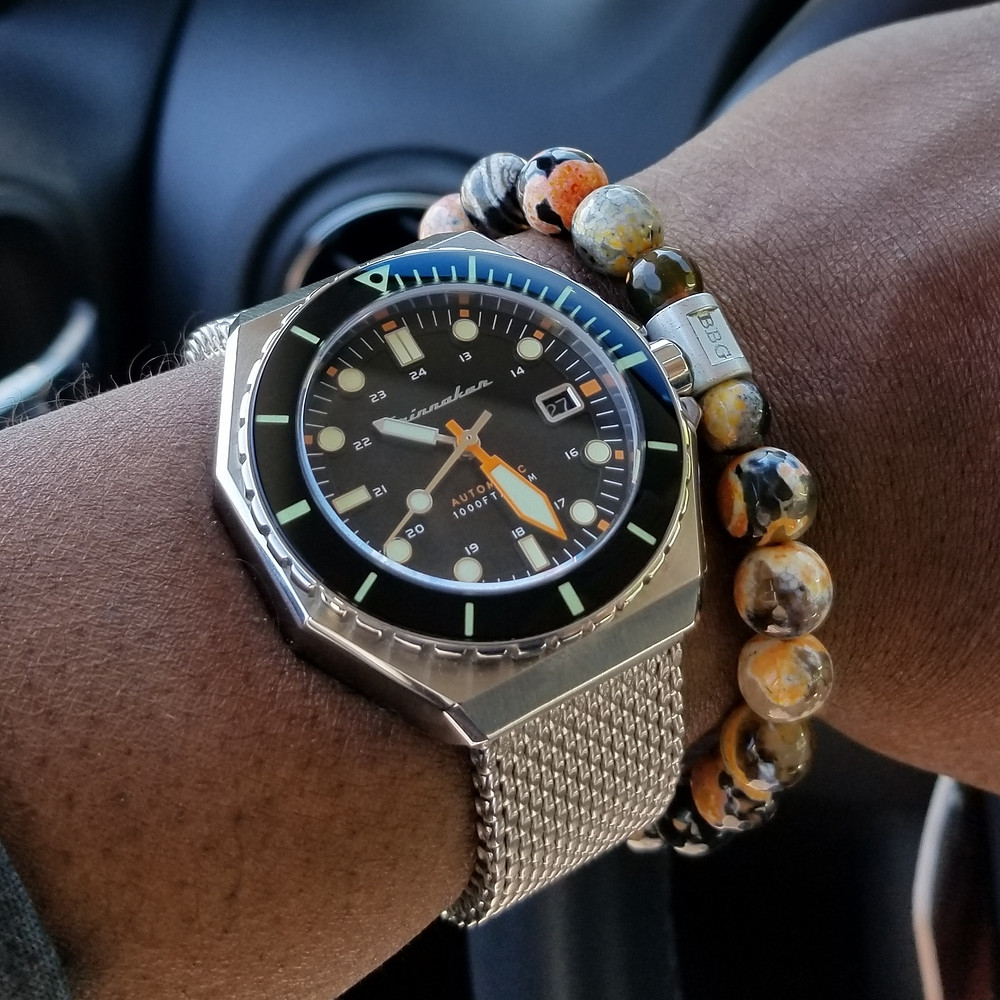 WOTD wrist-shot of the Spinnaker, Dumas Diver.  Paired with a custom, beaded bracelet, designed by Beads By Gonzo.