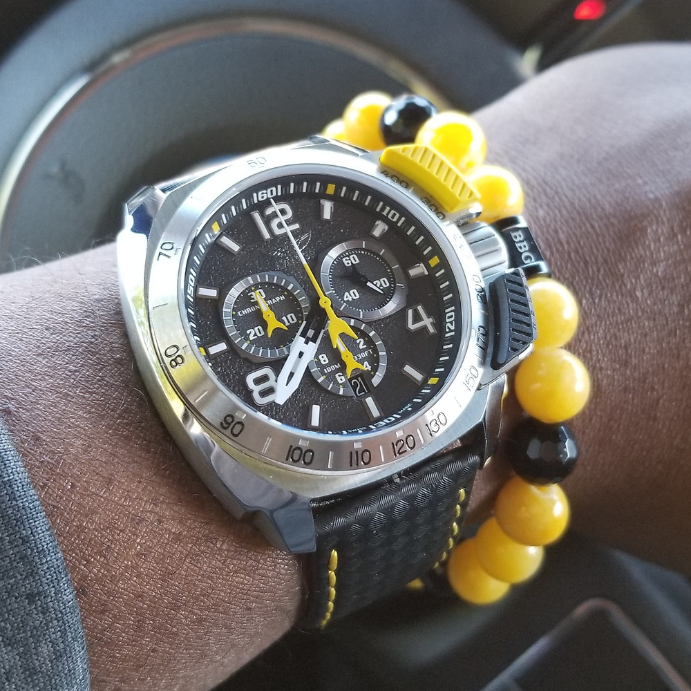 WOTD wrist-shot of the Aviator, SWIFTS Flight Team, Professional Chronograph.  Paired with a custom, beaded bracelet, designed by Beads By Gonzo.
