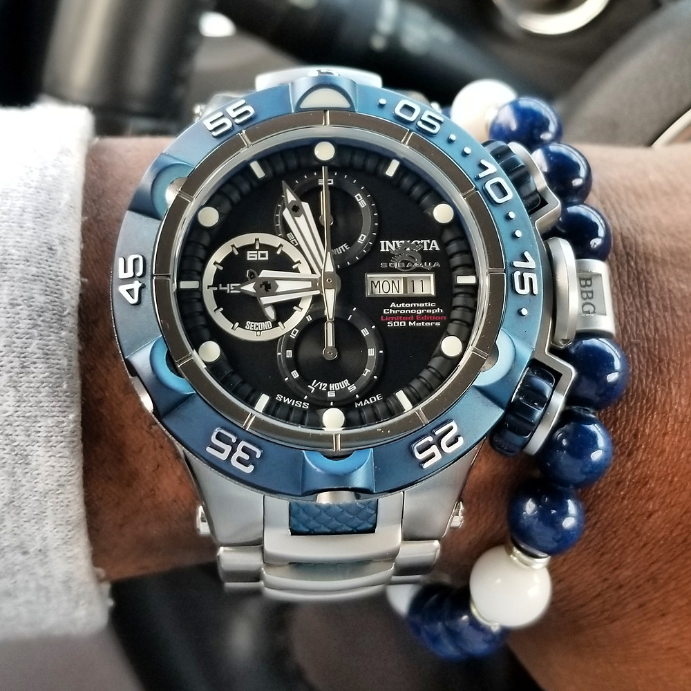 WOTD wrist-shot of the Invicta, SubAqua Nova V, Automatic Chronograph, Limited Edition.  Paired with a custom, beaded bracelet, designed by Beads By Gonzo.