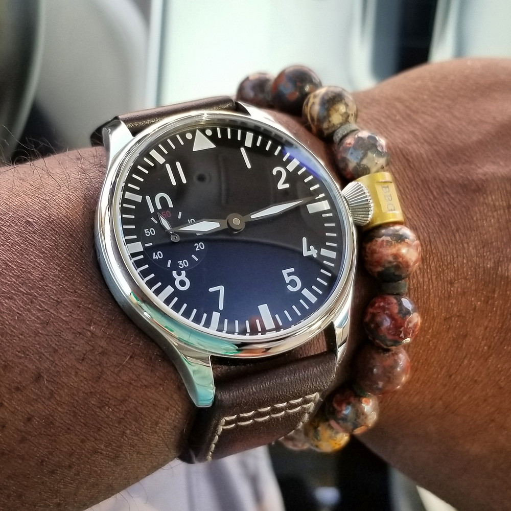 WOTD wrist-shot of the Parnis, Big Pilot Mechanical, Sterile Dial.  Paired with a custom-designed, beaded bracelet, crafted by Beads By Gonzo.