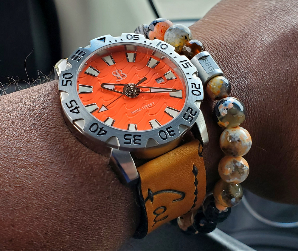WOTD wrist-shot of the Smith & Bradley, Wraith Diver.  Paired custom-crafted bracelet, designed by Beads By Gonzo.