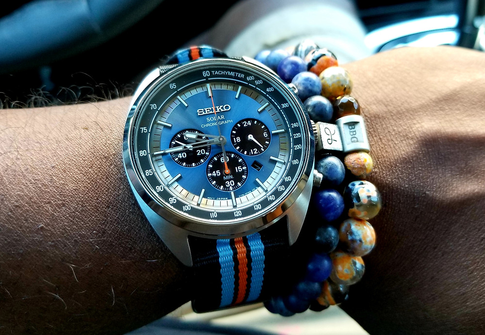WOTD wrist shot of Seiko Recraft Solar Chronograph paired with Aurum Brothers beaded bracelet and Beads by Gonzo custom beaded bracelet.
