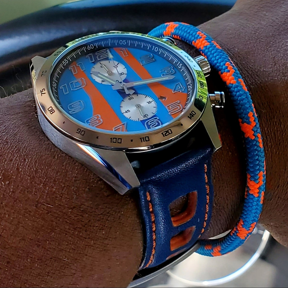 """WOTD wrist-shot of the Szanto, """"Icon Series"""" Danny Sullivan, Racing Chronograph.  Paired with a marine grade, rope bracelet, designed by Roplet UK."""