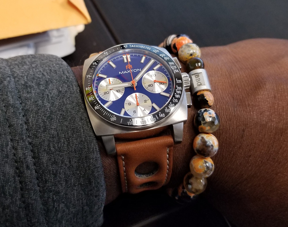 WOTD wrist shot of the McDowell Time, Maxton Chronograph, paired with a custom bracelet from Beads By Gonzo.