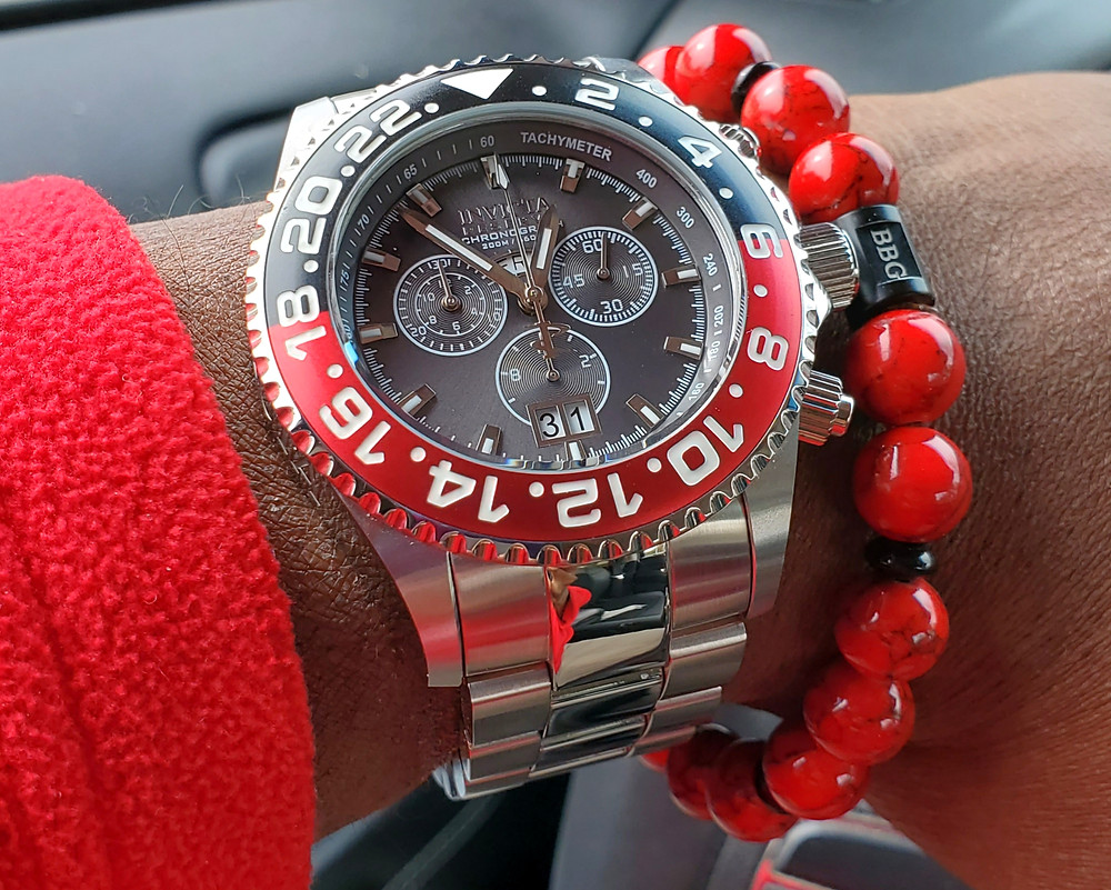 WOTD wrist-shot of the Invicta Reserve, Pro Diver Chronograph.  Paired with a custom-crafted bracelet, designed by Beads By Gonzo.