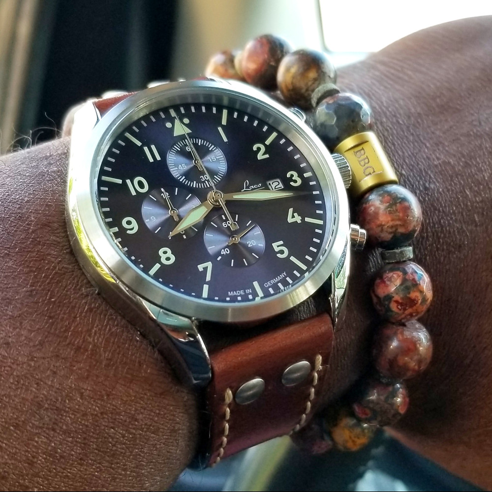 WOTD wrist-shot of the Laco, Atlantic Pilot, Chronograph, accessorized with custom bracelet, designed by Beads By Gonzo.