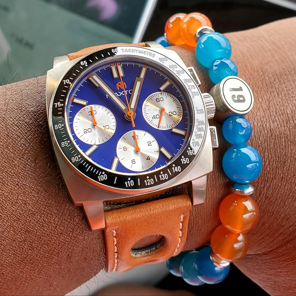WOTD wrist-shot of the McDowell Time, Maxton Chronograph.  Matched with a custom bracelet, designed by Beads By Gonzo.
