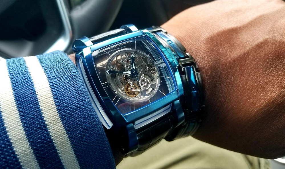 WOTD wrist shot of the Invicta Reserve, Sapphire Ghost, accompanied by Inox flat bracelet, both timepiece and bracelet in electric blue plating.