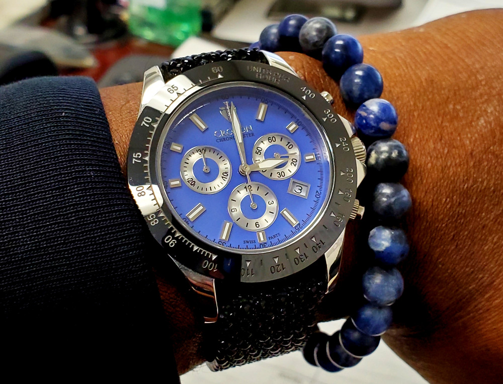 WOTD wrist-shot of the Croton, Chronomaster 925 Chronograph.  Paired with a sodalite stone bracelet, crafted by Aurum Brothers.