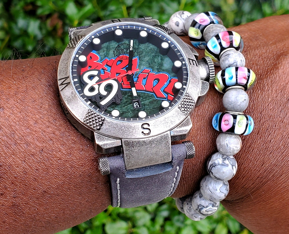WOTD wrist-shot of the Pramzius, Berlin Wall Watch, Limited Edition.  Paired with custom-crafted bracelet, designed by Beads By Gonzo.