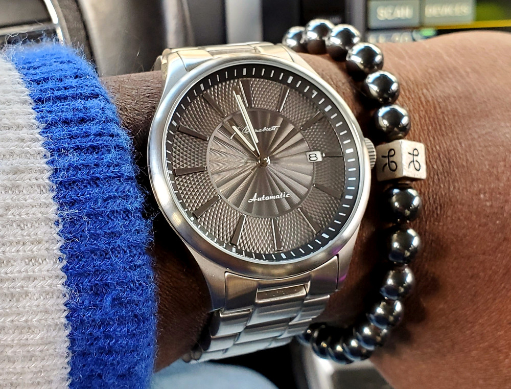 WOTD wrist-shot of the J. Brackett, Navigli - Automatic.  Paired with a minimalist, Hematite stone bracelet, designed by Aurum Brothers.