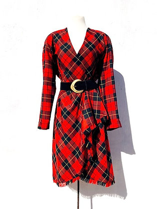 1980s Alvin Bell Tartan Dress