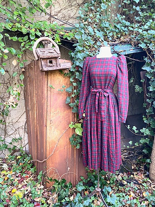 1980s Laura Ashley Plaid Dress