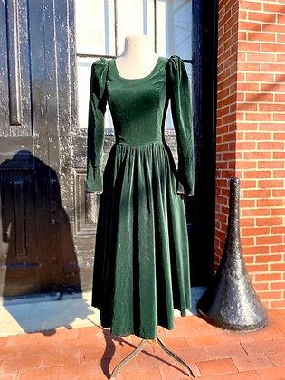 1980s Laura Ashley Velvet Dress