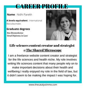 Biomedicine to Life sciences content creator and strategist