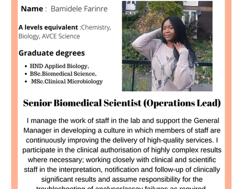 Bsc Biomedical Science to Operational Lead