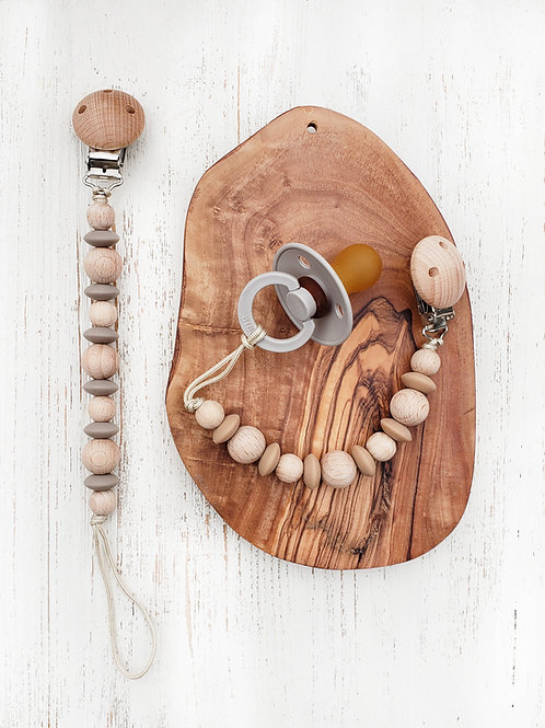 Wood + Silicone Paci-teether Clip