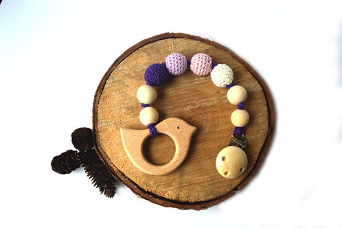 Natural wooden teething clip -purple dove