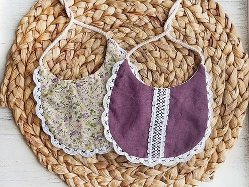 Linen & Lace drool bibs (Plum & Olive)