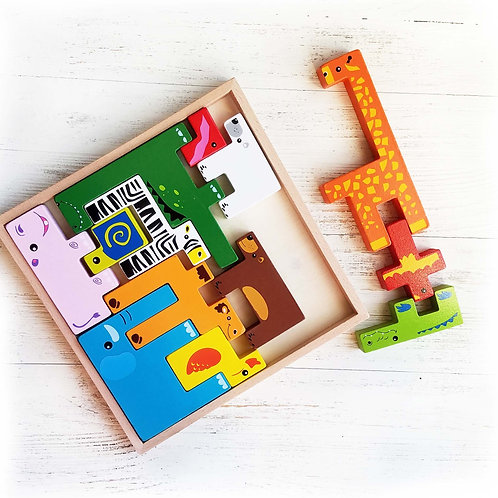 Wooden Animal Tetris Puzzle