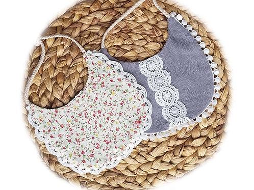 Linen & Lace drool bibs (Dark Gray & Petals)
