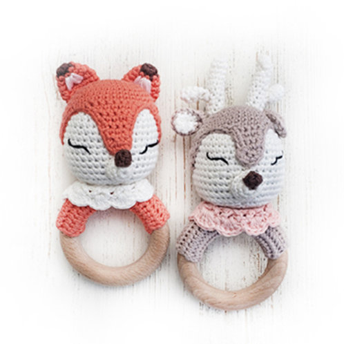 Forest Friends Foxy & Honey Deer Cotton Crochet Bunny Teething Rattle
