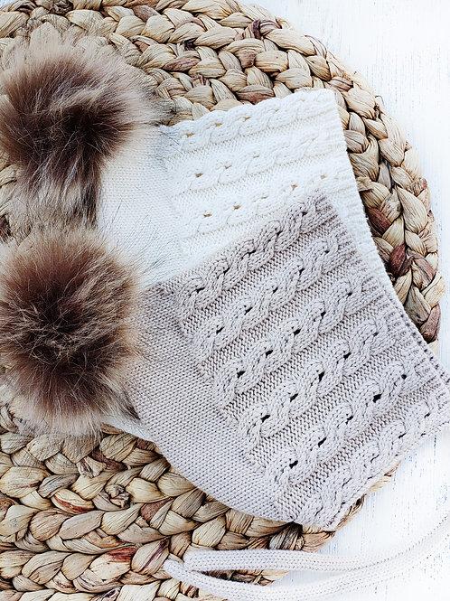 Knitted Pom Pom Bonnet