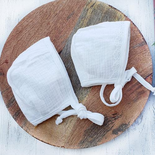 White Muslin Cotton Bonnets