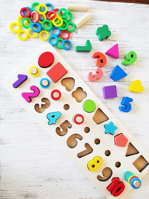 Aleks & Ania Wooden Shape Sorter Color and Number Stacker