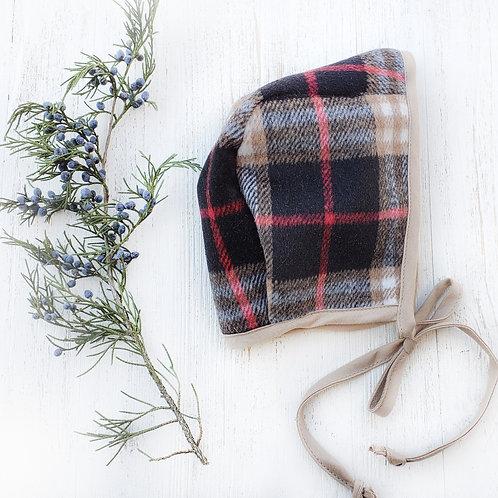Christmas Plaid Flannel Boy Bonnet