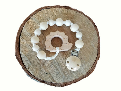 Natural wooden teething strap and Interchangeable Pacifier clip with hedgehog